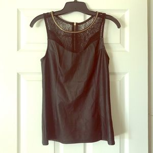 Express Leather and Lace Top Small